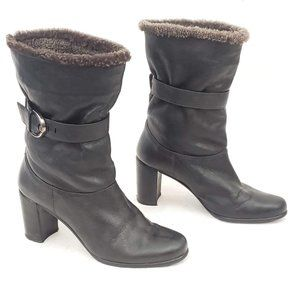 Stuart Weitzman Leather Winter Heeled Boots Sz 9 M